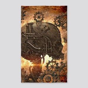 Awesome steampunk Skull with gears Area Rug