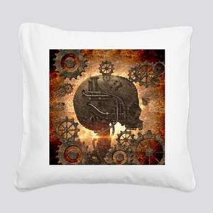 Awesome steampunk Skull with gears Square Canvas P
