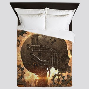 Awesome steampunk Skull with gears Queen Duvet