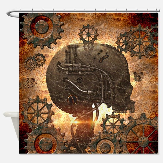 Awesome steampunk Skull with gears Shower Curtain