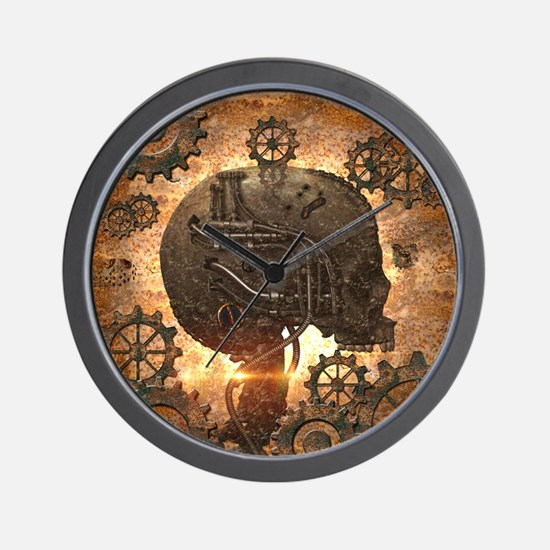 Awesome steampunk Skull with gears Wall Clock