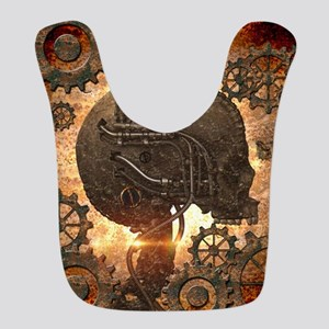 Awesome steampunk Skull with gears Bib