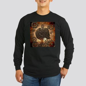 Awesome steampunk Skull with gears Long Sleeve T-S