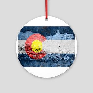 colorado concrete wall flag Round Ornament