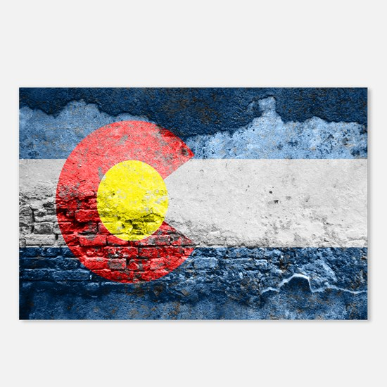 colorado concrete wall flag Postcards (Package of
