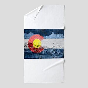 colorado concrete wall flag Beach Towel