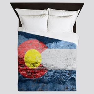 colorado concrete wall flag Queen Duvet