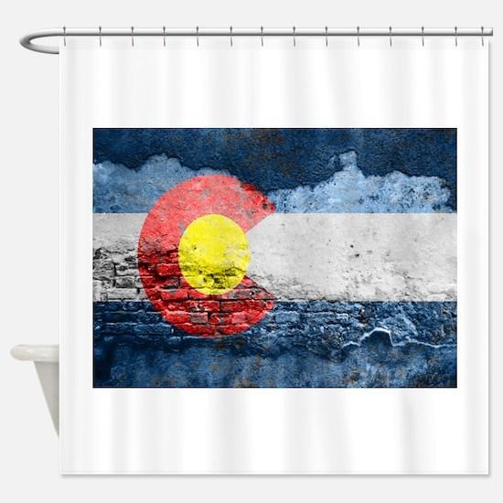 colorado concrete wall flag Shower Curtain