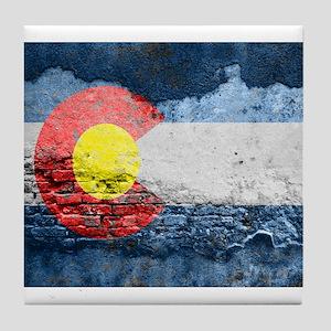 colorado concrete wall flag Tile Coaster