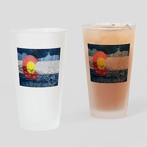 colorado concrete wall flag Drinking Glass