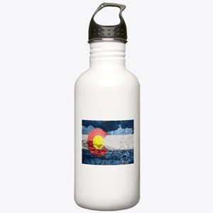 colorado concrete wall flag Water Bottle