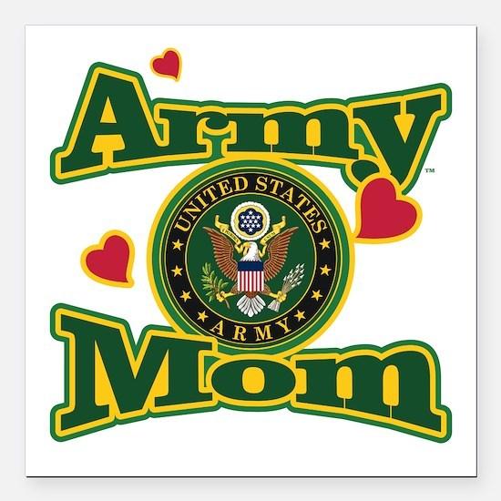 Army Mom Square Car Magnet 3" x 3"