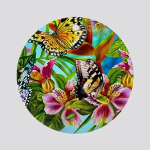 Beautiful Butterflies And Flowers Round Ornament