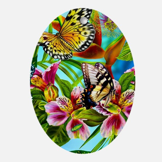 Beautiful Butterflies And Flowers Oval Ornament