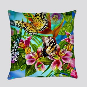 Beautiful Butterflies And Flowers Everyday Pillow