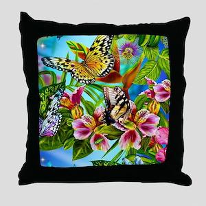 Beautiful Butterflies And Flowers Throw Pillow