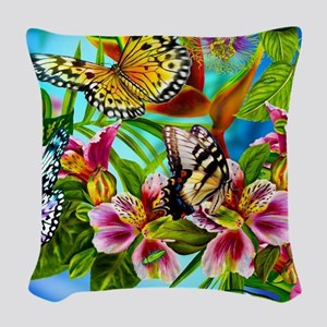 Beautiful Butterflies And Flowers Woven Throw Pill
