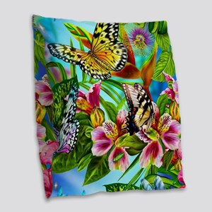 Beautiful Butterflies And Flowers Burlap Throw Pil