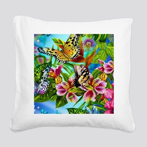 Beautiful Butterflies And Flowers Square Canvas Pi