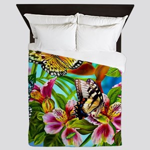 Beautiful Butterflies And Flowers Queen Duvet