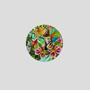 Beautiful Butterflies And Flowers Mini Button