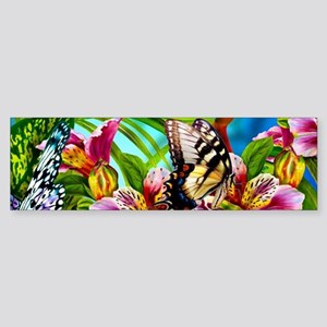 Beautiful Butterflies And Flowers Bumper Sticker