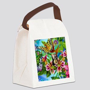 Beautiful Butterflies And Flowers Canvas Lunch Bag
