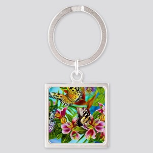 Beautiful Butterflies And Flowers Keychains