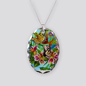 Beautiful Butterflies And Flowers Necklace Oval Ch
