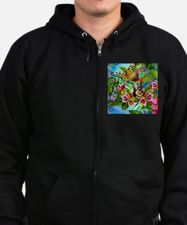 Beautiful Butterflies And Flowers Zip Hoody
