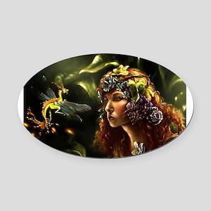Dragon Fly, Fairy Oval Car Magnet
