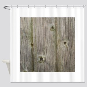 old grey wood Shower Curtain