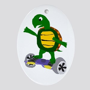 Funny Turtle on Hoverboard Oval Ornament