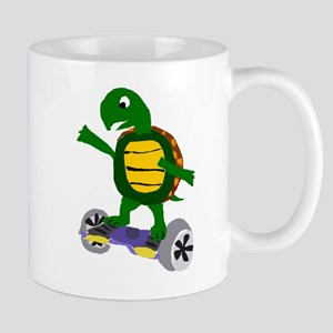Funny Turtle on Hoverboard Mugs