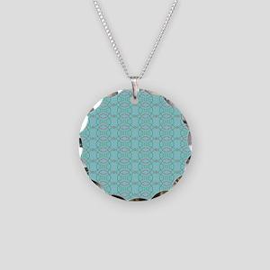 Aqua Teal Geometric Pattern Necklace Circle Charm