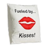 Fueled by Kisses Burlap Throw Pillow