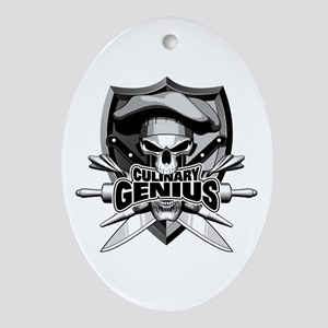 Culinary Genius Skull Oval Ornament