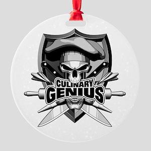 Culinary Genius Skull Round Ornament