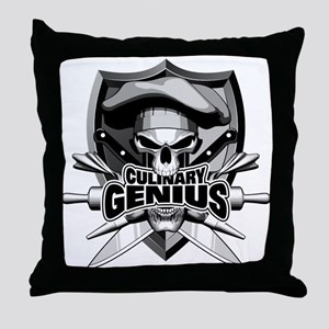 Culinary Genius Skull Throw Pillow