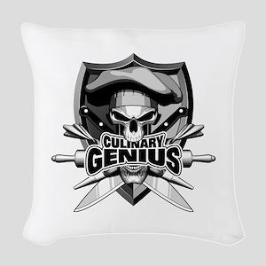 Culinary Genius Skull Woven Throw Pillow