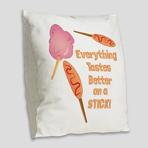 Fair Food Burlap Throw Pillow