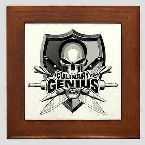 Chef Skull Genius Framed Tile