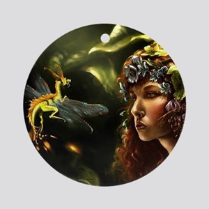 Dragon Fly, Fairy Round Ornament