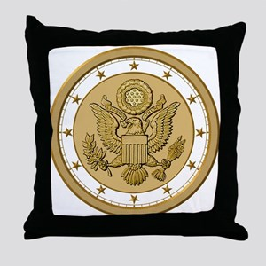 PATRIOT GOLD & WHITE Throw Pillow
