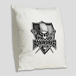 Proud Ironworker Skull Burlap Throw Pillow