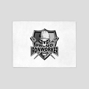 Proud Ironworker Skull 5'x7'Area Rug