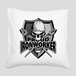 Proud Ironworker Skull Square Canvas Pillow