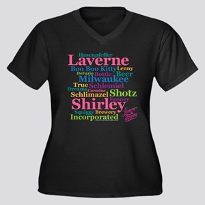 Laverne and Women's Plus Size V-Neck Dark T-Shirt