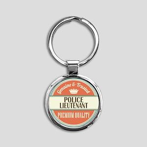 police lieutenant vintage logo Round Keychain