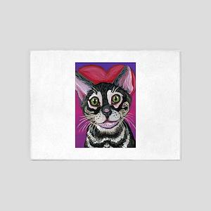 Bengal Cat Valentine 5'x7'Area Rug
